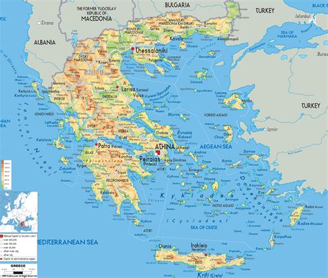 Physical Map of Greece - Ezilon Maps
