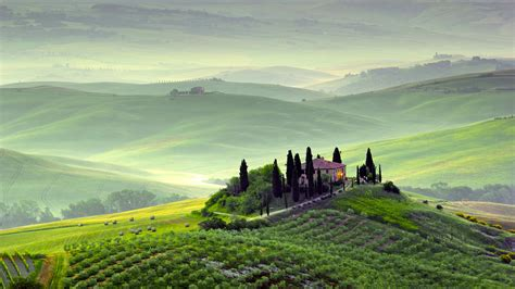 Wallpaper Tuscany, 4k, HD wallpaper, Italy, Hills, meadows