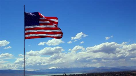 United States Flag Blowing in Stock Footage Video (100%