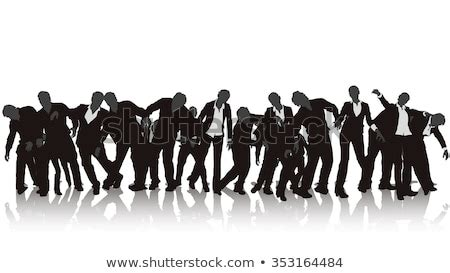 Illustration Zombie Silhouette Crowd On White Stock Vector